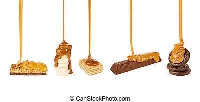 dulce, y, Galletas, vertido, Caramelo, en, Un, blanco,