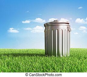 緑, プラスチック, 屑, リサイクル, 容器,...