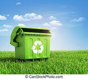 verde, plástico, lixo, reciclagem, Recipiente,...