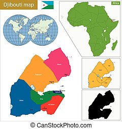 Djibouti map - Administrative division of the Republic of...