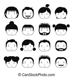 Set of monochrome silhouette office people icons....
