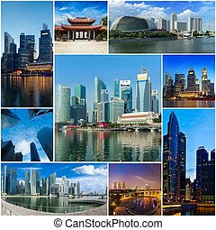 Mosaic collage storyboard of Singapore images