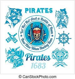 Pirate themed design elements - vector set. Vintage vector...