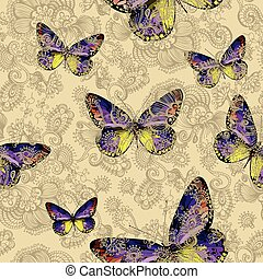 Seamless floral pattern with colorful butterflies,...