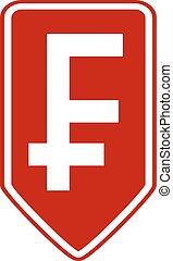 Swiss franc symbol button. - Swiss franc symbol button on...