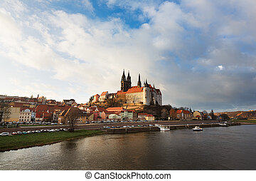 Cityscape of Meissen in Germany with the Albrechtsburg...