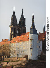 Meissen castle - Albrechtsbrg with Cathedral of Meissen in...