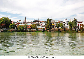 Triana District Seville Spain - the waterfront of the Triana...