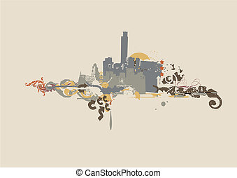 urban background. Grunge style. Vector illustration.