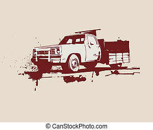 vintage truck - vector illustration of vintage truck Grunge...