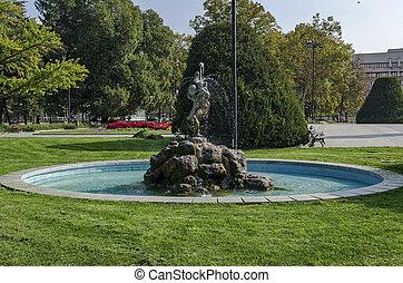 Fountain at garden in Ruse town, Bulgaria