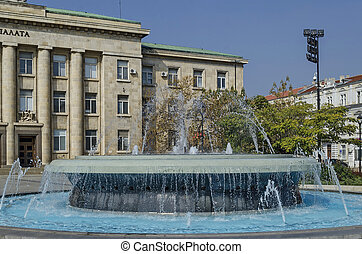Fountain at garden in Ruse town, Bulgaria