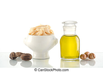 Argan oil and fruits with Shea butter and nuts - Still life...