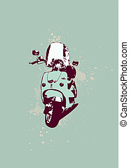 retro bike - Retro style of scooter bike Grunge style Vector...