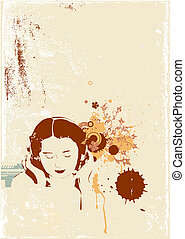 music - A stylized illustration of a Girl listening to music...