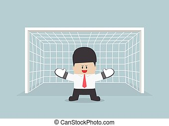 Businessman playing goalkeeper standing in front of goal...