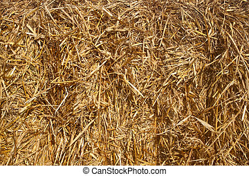 Close up of a straw bale.