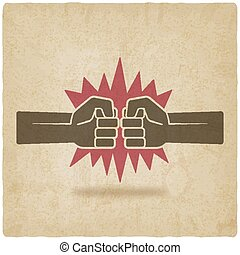 punch fists fight symbol old background - vector...