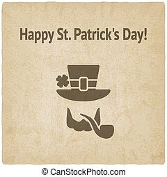 St. Patricks Day card with leprechaun - vector illustration....