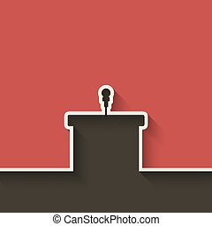 podium with microphone red background - vector illustration...