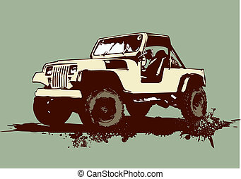 retro car - Grunge stilyzed vintage military vehicle. Vector...