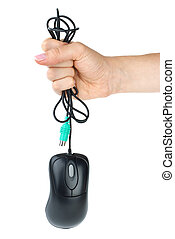 Hand holding black computer mouse isolated on the white...