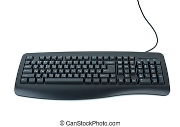 Black ergonomic computer keyboard isolated on the white...