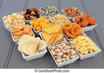 Snack Food Selection - Savory snack party food selection in...