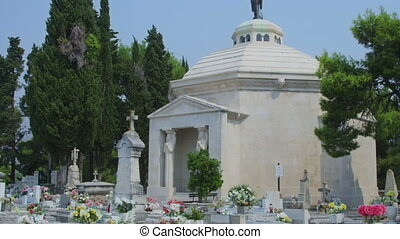 Cavtat tourist attraction is old town cemetery - Detail of...