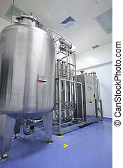 Water distiller in factory - manufacturing facility in...