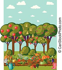 Vintage garden banner with root veggies - A set of whimsical...