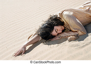 All Day I Have Been Dreaming - Woman sleeping on the sand.