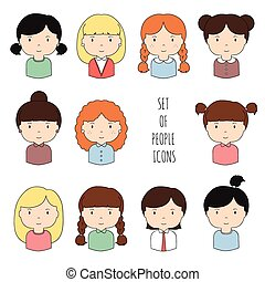 Set of colorful female faces icons. Funny cartoon hand drawn...