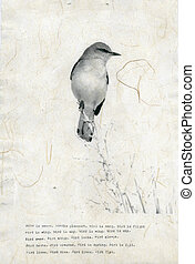 Bird Poem - Photograph of mocking bird printed on Ogura...