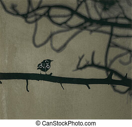 Sacred Word - A little bird sitting on a tree branch with...