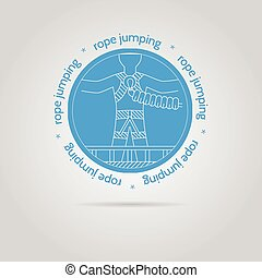 Vector illustration with round blue icon and text for rope...