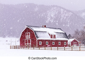 Red Barn in the Snow - Bright red barn covered with snow...
