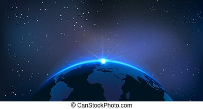Vector Globe - Rising Sun over the Earth Planet with Space...