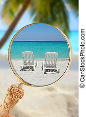 Looking in on tropical chairs - Loop or magnifying glass...