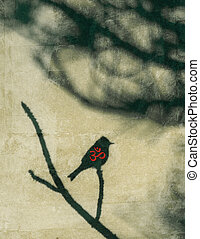 OM Bird - A little bird with the OM symbol in red overlaid...