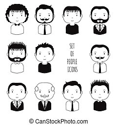 Set of monochrome male faces icons Funny cartoon hand drawn...
