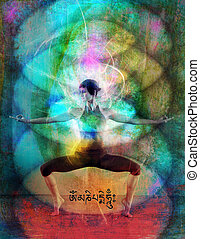 Chakra Energy Field - Woman in a colorful flowing energy...