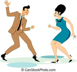 Dancing the Twist - Cartoon couple dressed in early 1960s...