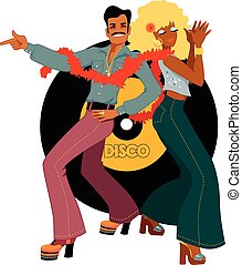 Disco dancers back to back - Young couple dressed in 1970s...