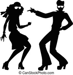 Disco dancers silhouette - Black isolated silhouette of a...
