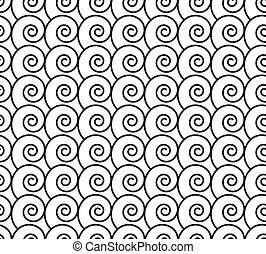 Seamless pattern with black swirls