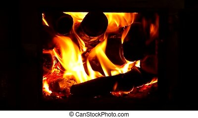Brick stoves with fire. - Closing the door brick stoves