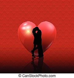 valentines couple on heart background 2101