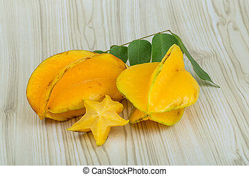 Carambola - Asian fruit Carambola with leaves - for styling...