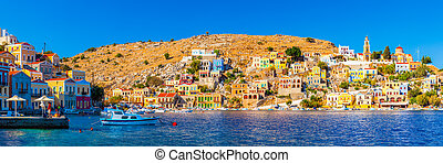 Symi Greece - Panoramic shot of the beautiful Harbour at...